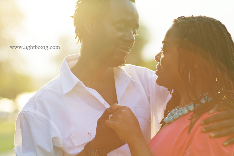 beautiful sunset engagement picture at White Rock Lake Dallas