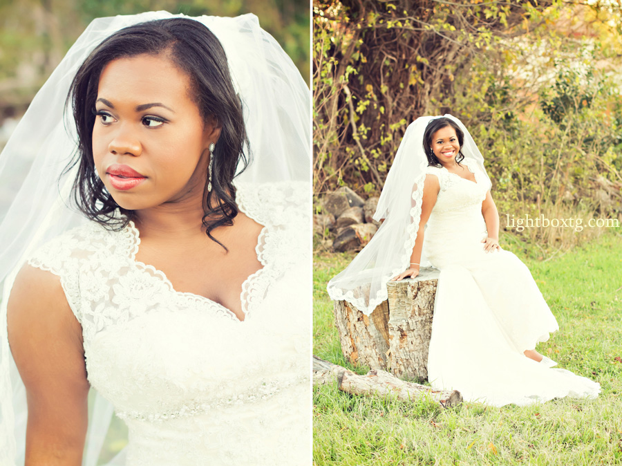 stunning bridal portraits taken in Garland TX on winter day in December in front of tall oak tree with tree stumps and green grass surrounding